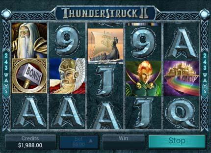 thunderstruck II mobile slots reels