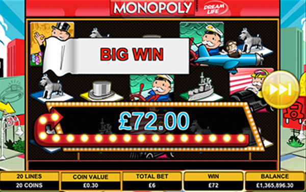 monopoly mobile slots big win