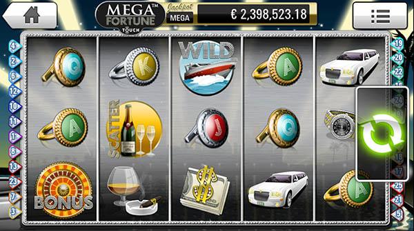 Mega Fortune mobile slots reels