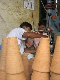 Lassis in traditional ceramic cups