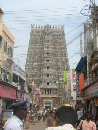 Sri Meenakshi temple rising out of the city