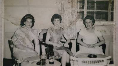 Margot's mother (left) with friends.