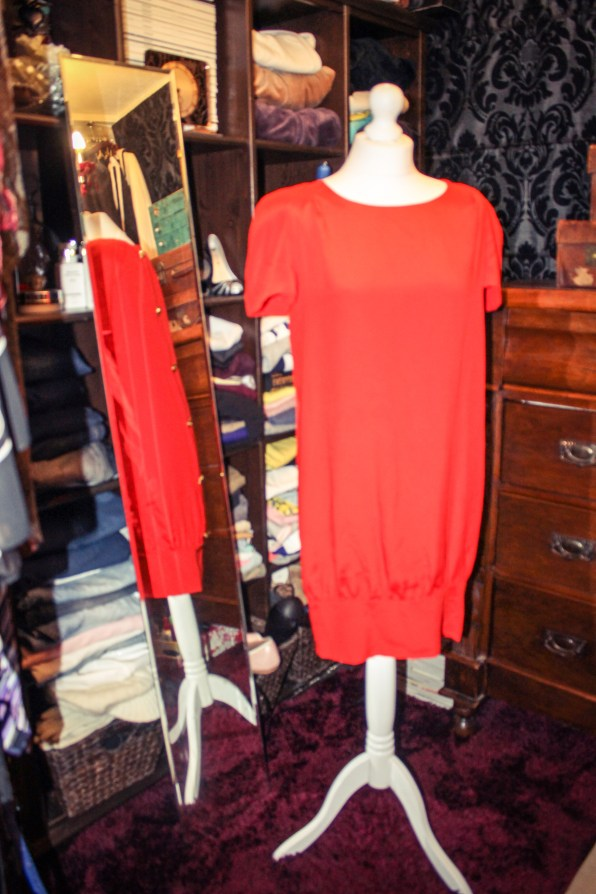 Christian Lacroix orange shift dress with back button fastening £25