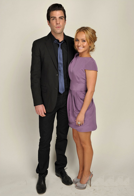 Actor Zachary Quinto and actress Hayden Panettiere pose for a po