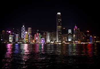 The Hong Kong skyline, illuminated.