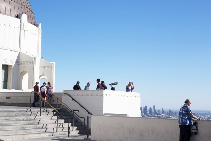 Admiring the architecture at Griffith Observatory