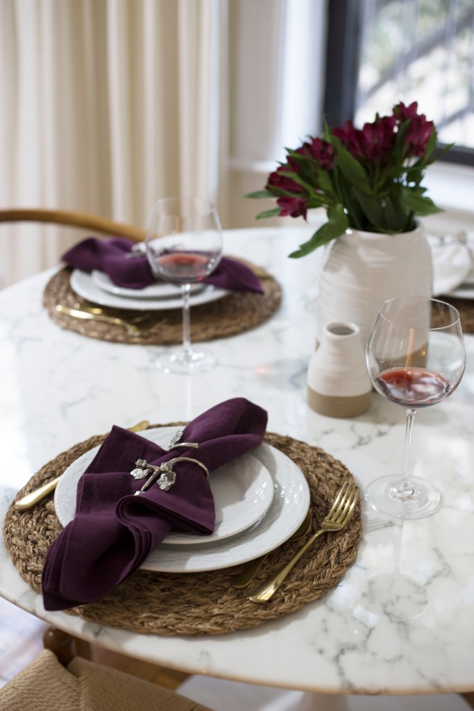 A table set for a Fall Dinner Party