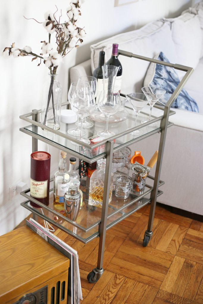bar cart for home date nights during coronavirus