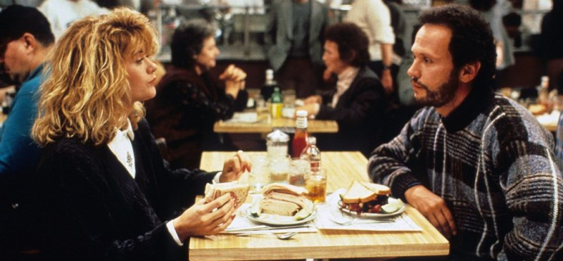 Sally and Harry enjoying lunch at Katz's deli in When Harry Met Sally during a fall day in New York City