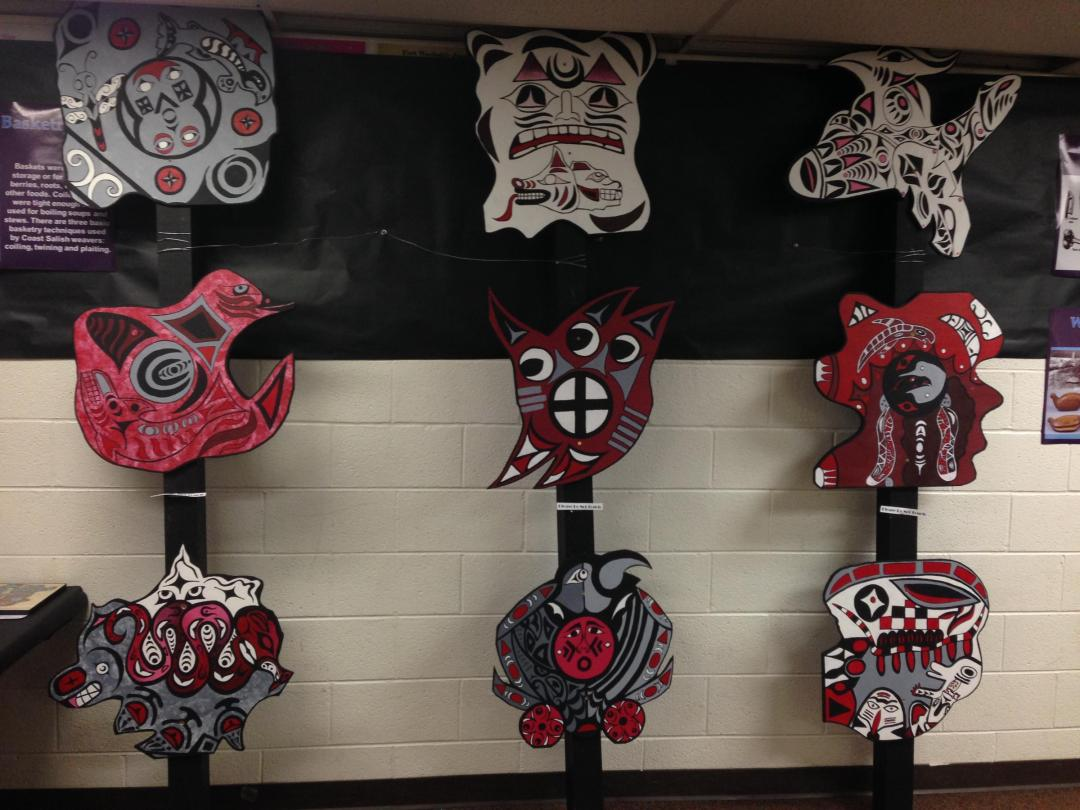"""Student artwork created for Gabe Joyes and Leah Maltbie's """"The American West"""" class, which explored the history, art and culture of different indigenous groups in the West over the past semester."""