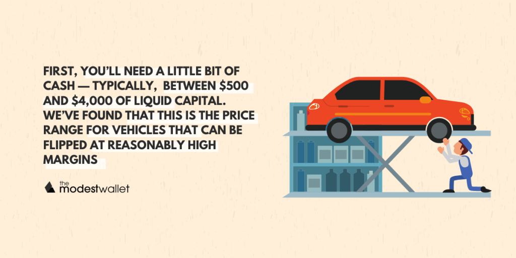 How much money do I need to flip cars?