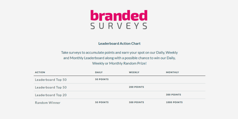 Branded Surveys Review Leaderboard