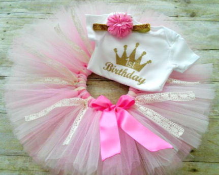 Baby Girls 1st Birthday Princess Outfit Pink And Gold Princess Crown Tutu Outfit And Headband Set