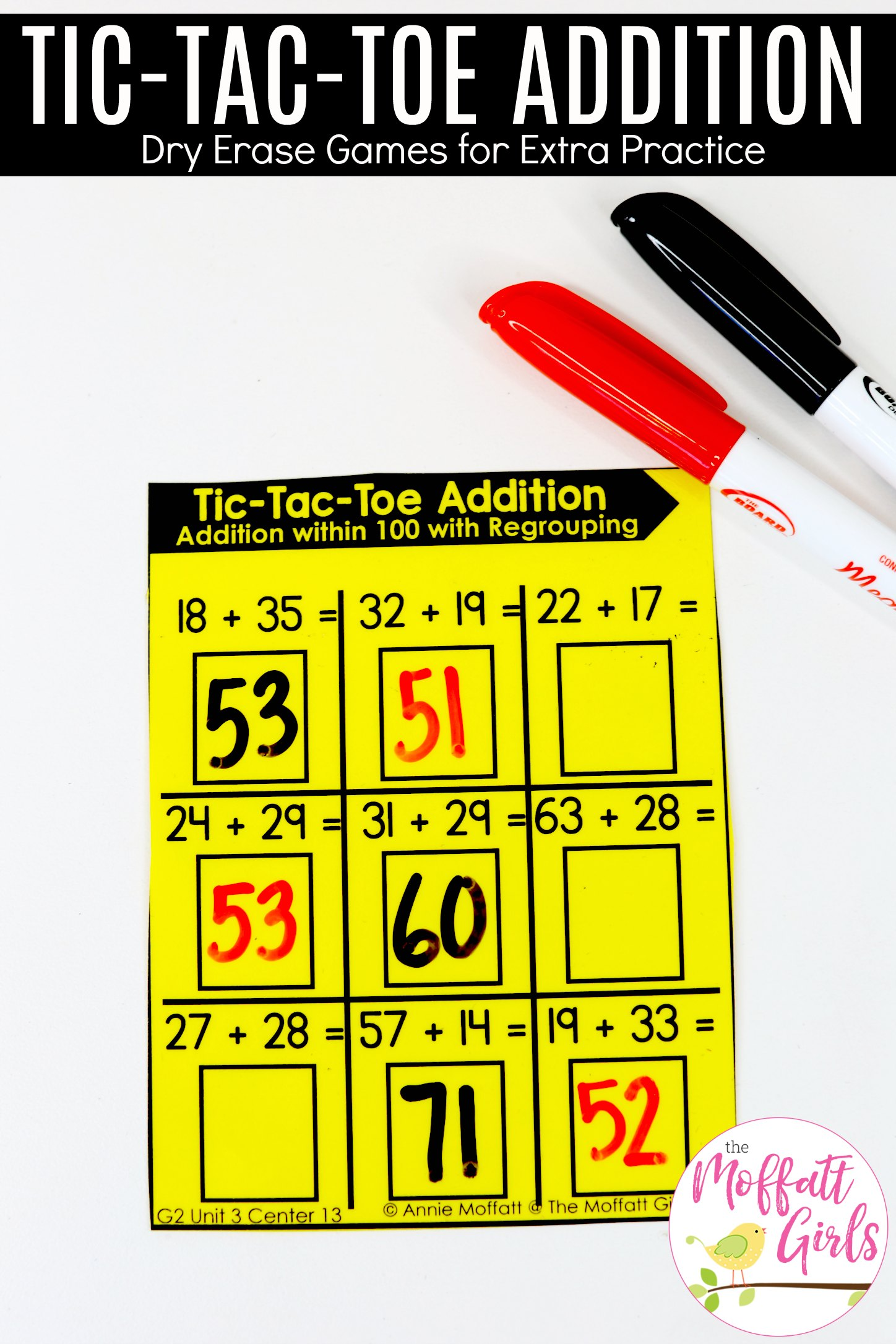 Tic Tac Toe Addition Game 13a