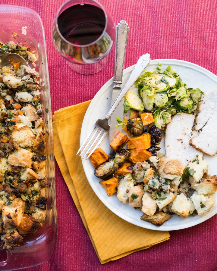 Thanksgiving Plate / Sarah Crowder / Katie Workman / themom100.com/7 Ways to Make Your Thanksgiving Easier, Or How to Kick Thanksgiving's Butt
