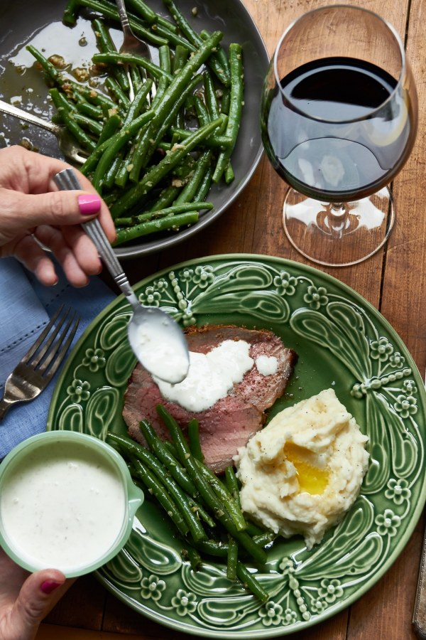 back to school dinners / Roast Beef with Mustard Garlic Crust and Horseradish Sauce / Mia / Katie Workman / themom100.com