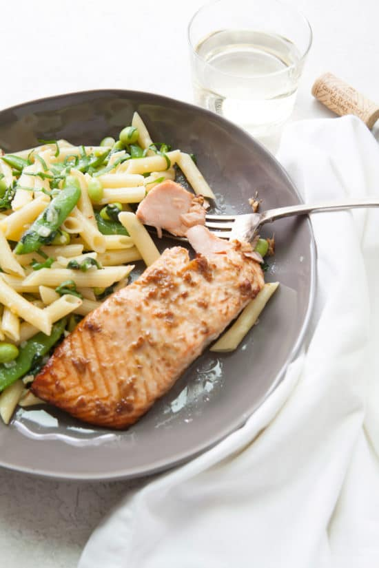 Pasta with Ramps, Edamame, and  Sugar Snap Peas in a Light Parmesan Cream Sauce / Photo by Kerri Brewer / Katie Workman / themom100.com