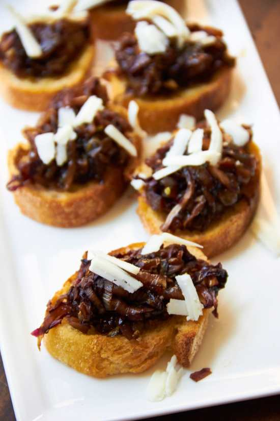 Radicchio and Endive Crostini with Aged Goat Cheese and Balsamic Glaze / Mia / Katie Workman / themom100.com