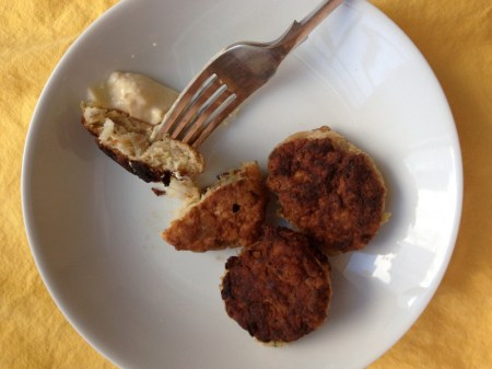 Cod Cakes on Fork