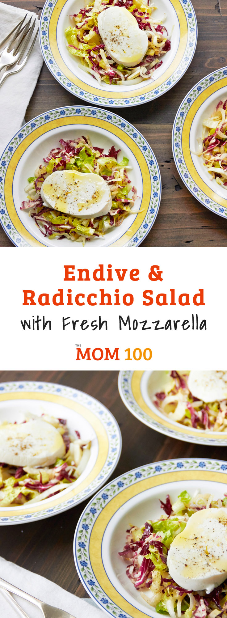Endive and Radicchio Salad with Fresh Mozzarella is a salad that doesn\'t fade into the background. Plus, it was a hit with my kids.
