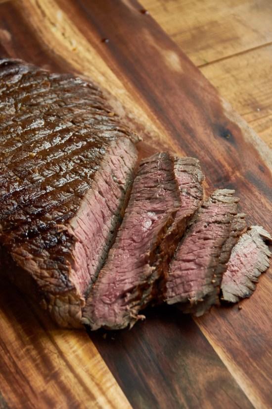 london broil steak sliced against the grain