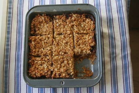 oatmeal squares with one taken out