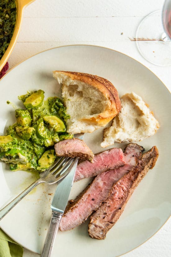 Grilled Mexican Rib-Eye Steaks with Baby Pattypan Squash Gratin / Katie Workman / themom100.com / Photo by Cheyenne Cohen