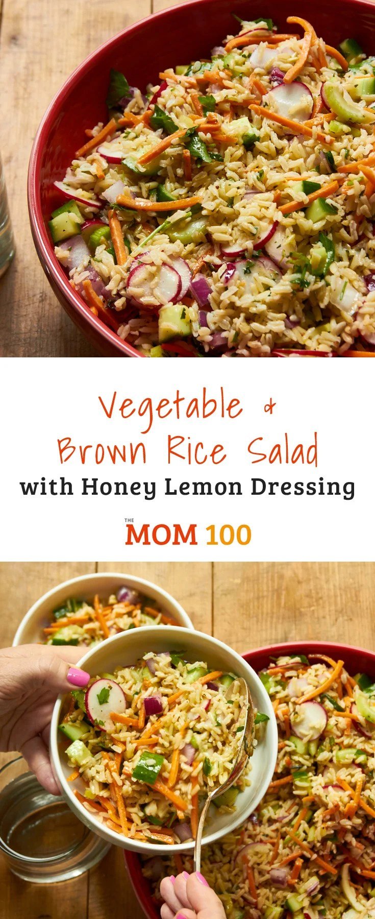This brown rice salad recipe is the vegetarian side dish you\'re always looking for when you\'re hosting a crowd or going to a potluck.