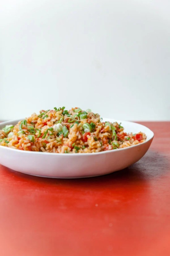 Tomato Scallion Rice / Carrie Crow / Katie Workman / themom100.com