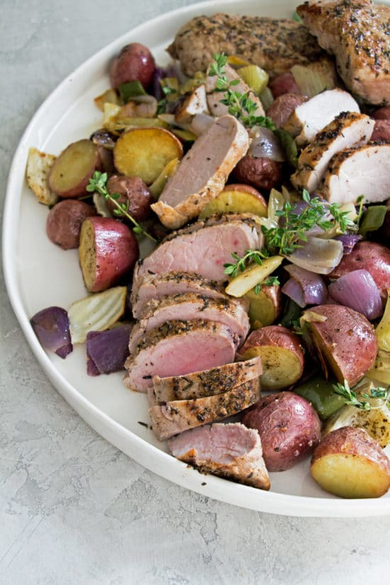 Mediterranean Pork Tenderloin with Roasted Vegetables