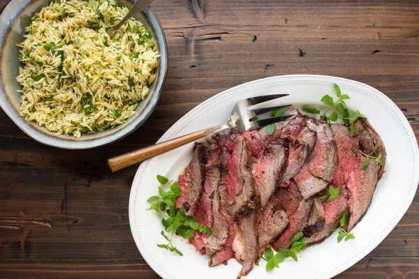 serving leg of lamb with orzo