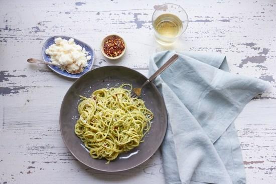 Pasta with Edamame, Mint and Basil Pesto / Mia / Katie Workman / themom100.com