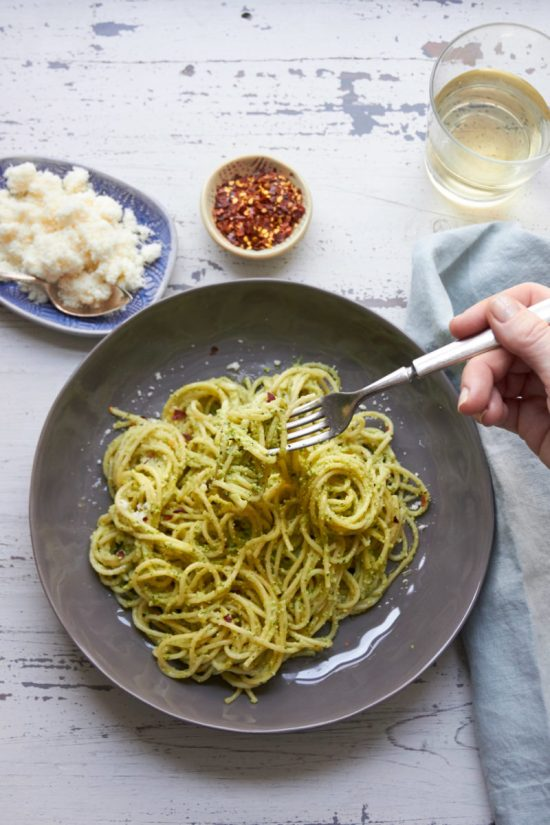 Pasta with Edamame, Mint and Basil Pesto