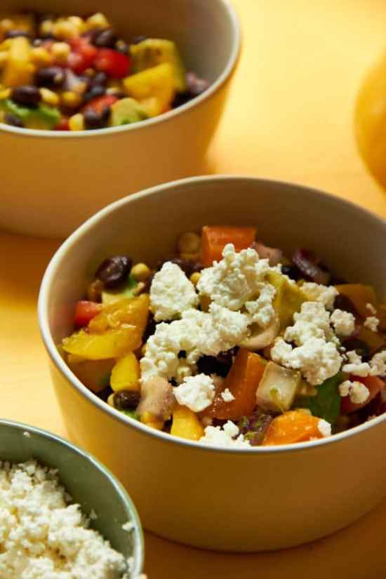 Southwest Black Bean and Corn Salad with cheese on top