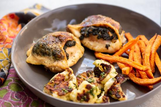 Creamed Spinach Stuffed Chicken Thighs / Photo by Cheyenne Cohen / Katie Workman / themom100.com