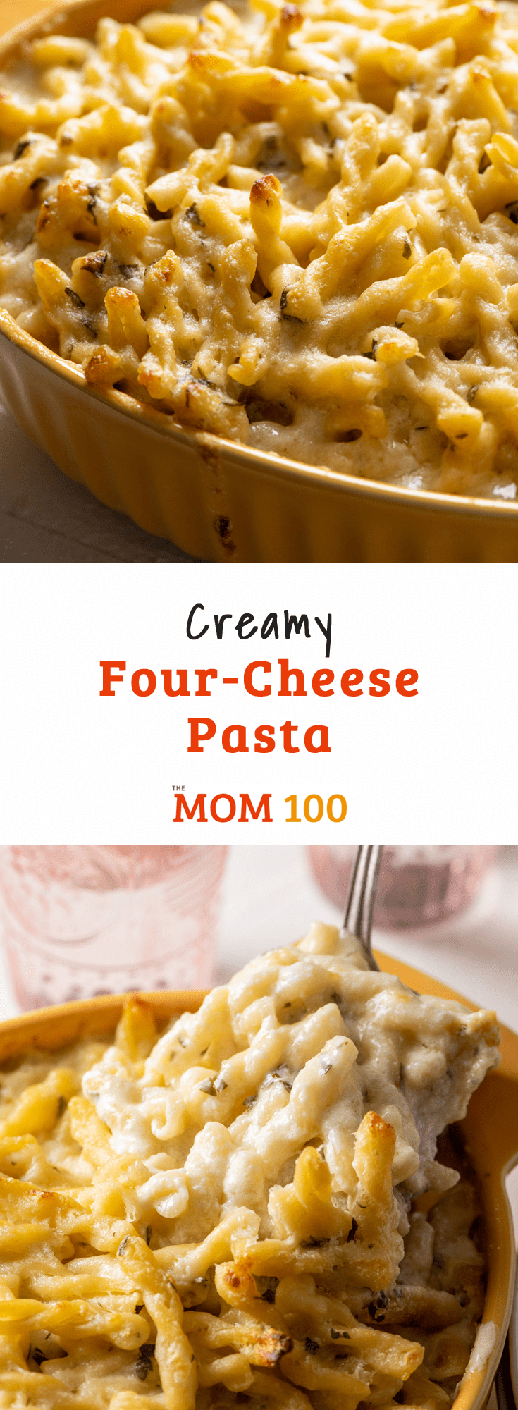 Creamy Four-Cheese Pasta: Ultra velvety and lush thanks to a blend of mascarpone, cheddar, Monterey Jack, and creamy goat cheese.