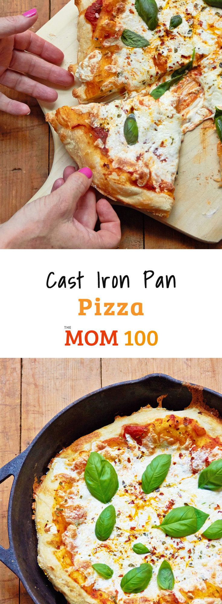 The secret to this Cast Iron Pan Pizza is partiallybaking the dough before the toppings get added—crispy on the bottom, cheesy and NOT soggy on top!