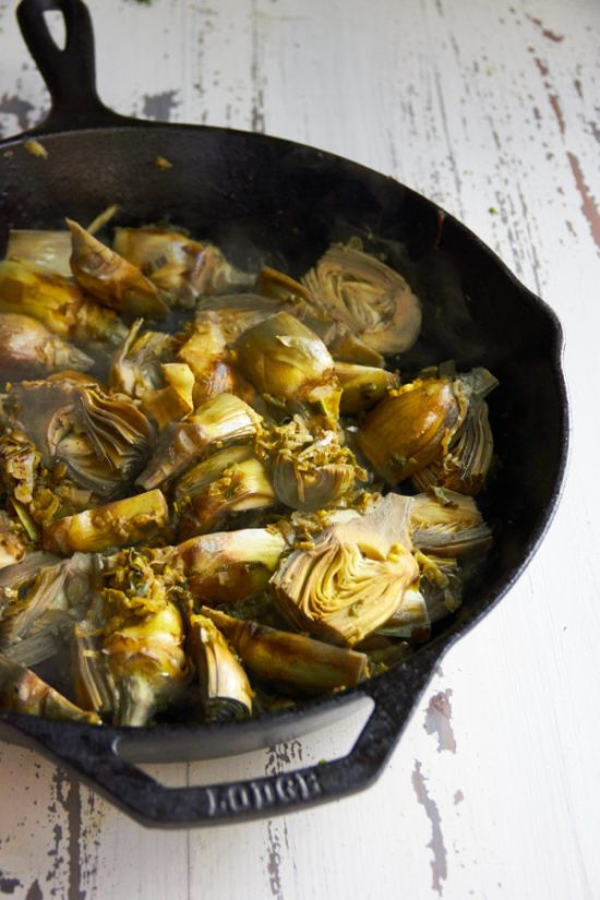 Braised Baby Artichokes with Leeks and Capers / Mia / Katie Workman / themom100.com