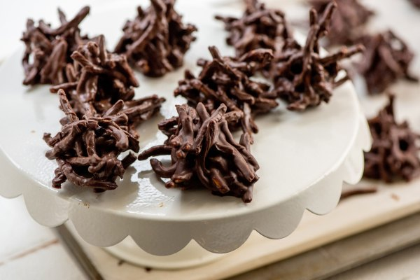 Chocolate, Peanut and Pretzel No-Bake Haystack Cookies