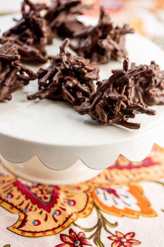 Chocolate, Peanut and Pretzel No-Bake Haystack Cookies
