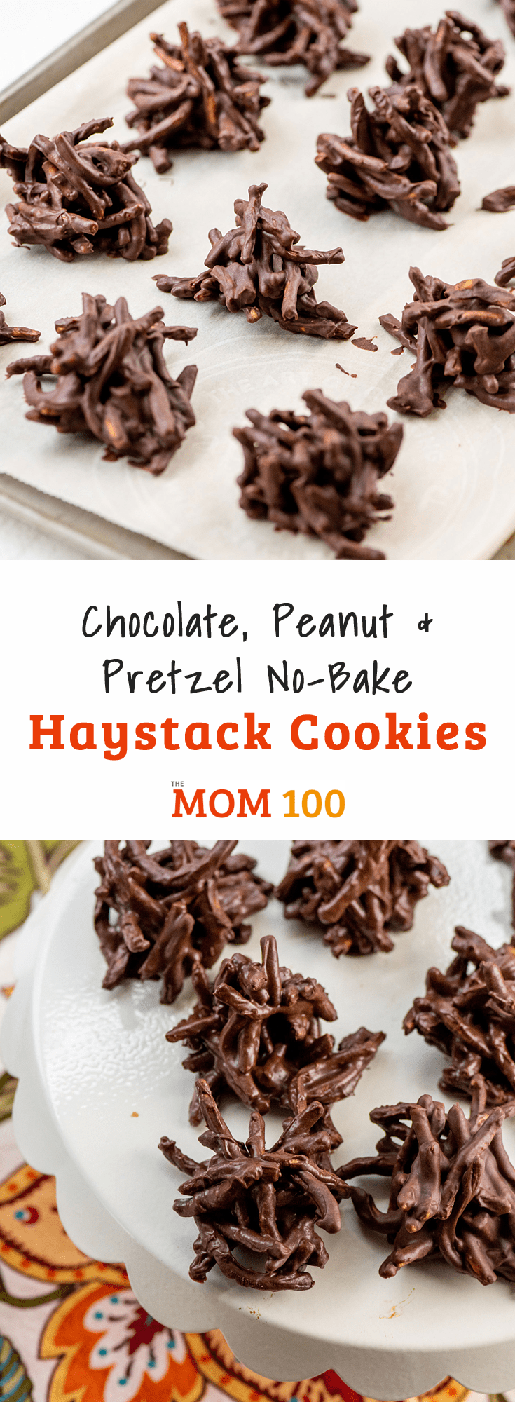 These Chocolate, Peanut and Pretzel No-Bake Haystack Cookies are crunchy and chocolatey—an addictive combination.
