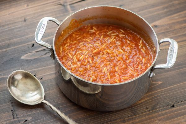 Tomato, Orzo and Dill Soup in a pot
