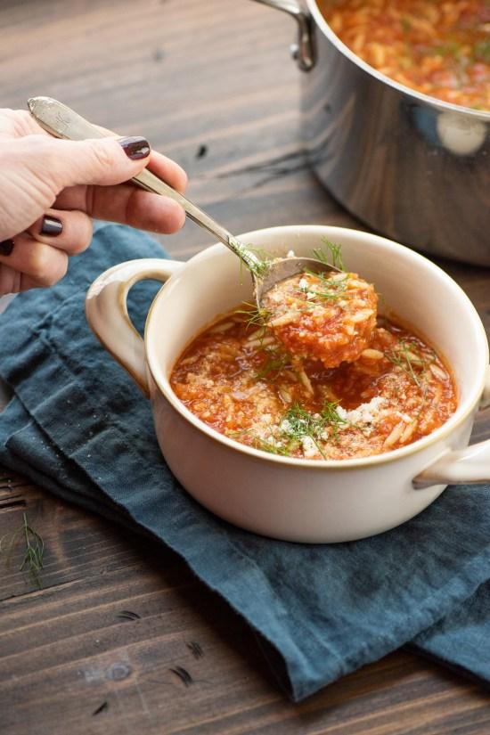 Tomato, Orzo and Dill Soup