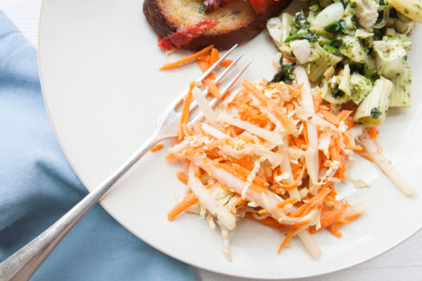 Carrot, Cabbage and Kohlrabi Slaw with Miso Dressing / Photo by Kerri Brewer / Katie Workman / themom100.com