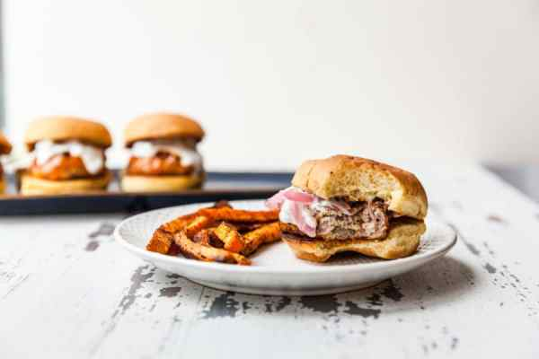 Crispy Baked Sweet Potato Fries with Buffalo Turkey Burger Sliders