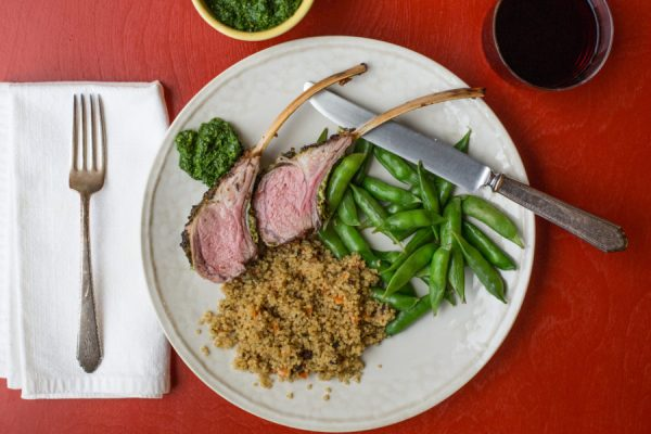 Rack of Lamb with Herb Crust and Mint-Basil Pesto