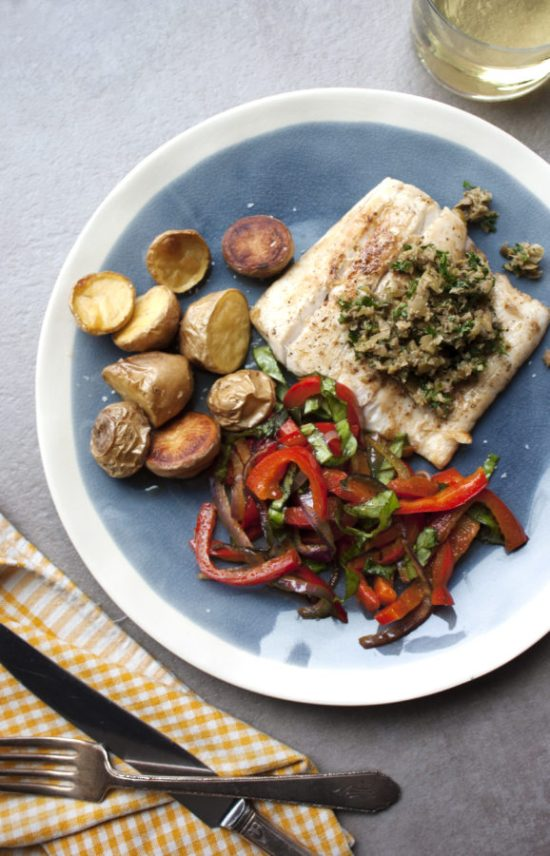 Pan Seared Fish with Peppers and Caper-Olive Pesto