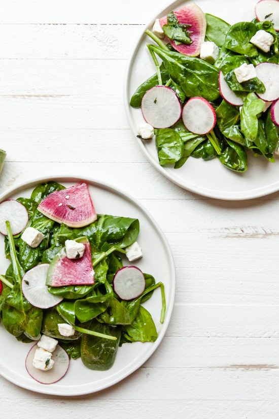 Spinach and Radish Salad with Feta