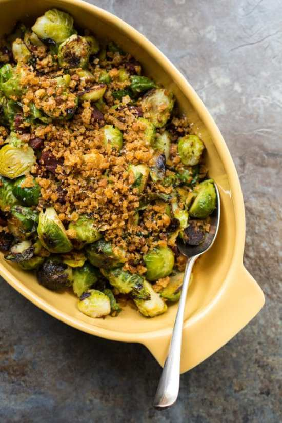 Pan-Roasted Brussels Sprouts with Chorizo and Toasted Bread Crumbs
