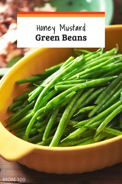 Honey Mustard Green Beans: A simple (5-Minute!) honey mustard dressing transforms green beans into a flavorful side dish. #sidedish #vegetarian #glutenfree